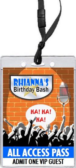 Comedy Club Birthday Party VIP Pass Invitation