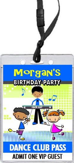 Dance Club Kids Blue Green Birthday Party VIP Pass Invitation