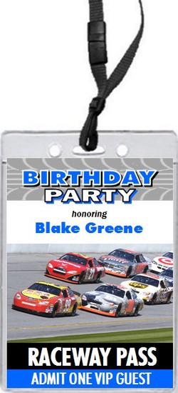 Daytona 500 Birthday Party VIP Pass Invitation Blue