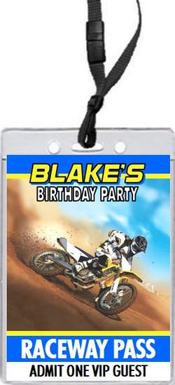 Dirtbike Race Blue Birthday Party VIP Pass Invitation