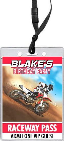 Dirtbike Race Red Birthday Party VIP Pass Invitation