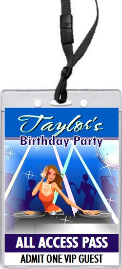 DJ Hottie Birthday Party VIP Pass Invitation