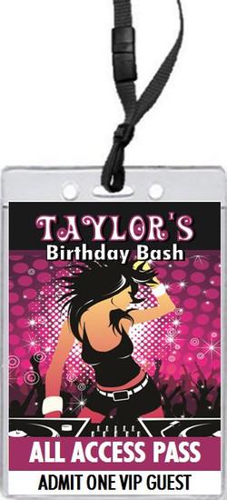 DJ Rocker Chick Birthday Party VIP Pass Invitation