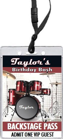 Drums Birthday Party VIP Pass Invitation