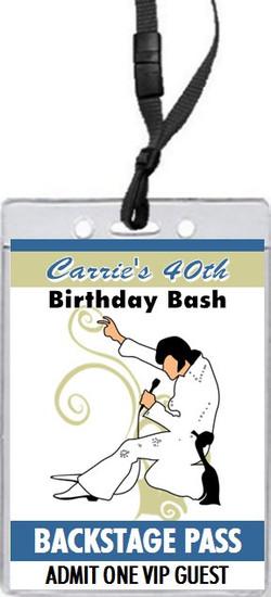 Elvis Inspired Birthday Party VIP Pass Invitation