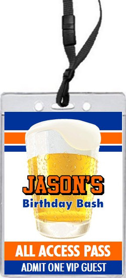 Free Beer Birthday Party VIP Pass Invitation Front
