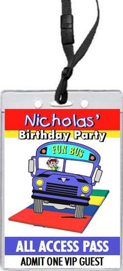 Fun Bus Birthday Party VIP Pass Invitation Front