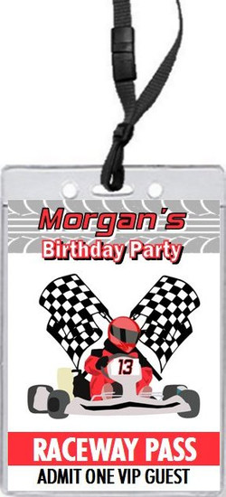 Go Kart Racer Birthday Party VIP Pass Invitation