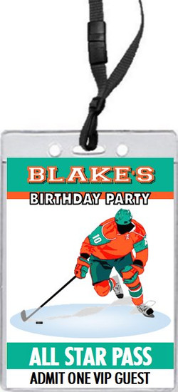 Hockey Player Birthday Party VIP Pass Invitation Front