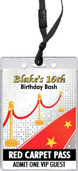 Hollywood Red Carpet Birthday Party VIP Pass Invitation Front