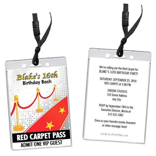 Hollywood Red Carpet Birthday Party VIP Pass Invitation