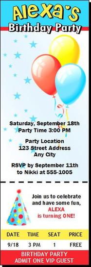 Balloons and Stars Birthday Party Ticket Invitation