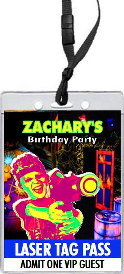 Laser Tag Birthday Party VIP Pass Invitation Front