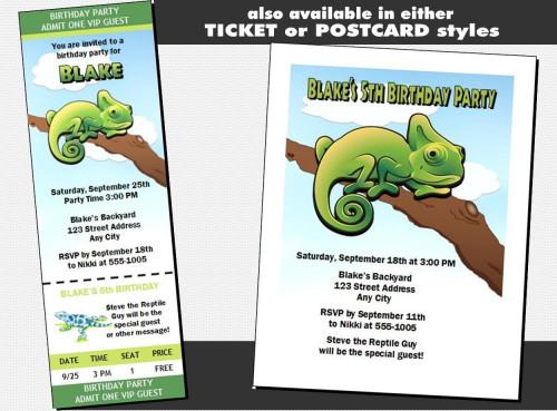 Lizard Iguana Birthday Party Vip Pass Invitation