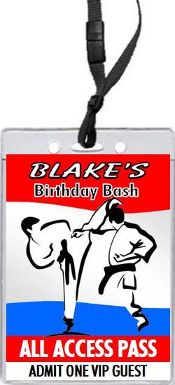 Martial Arts Birthday Party VIP Pass Invitation Front