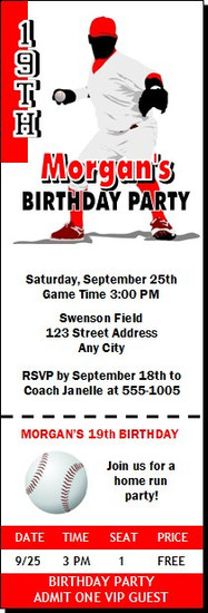 Baseball Birthday Party Ticket Invitation