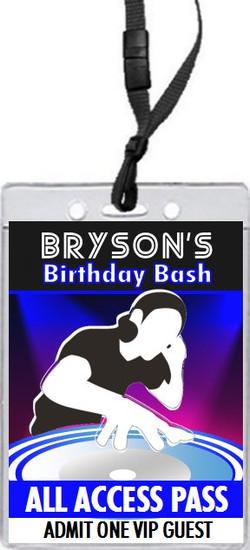Master DJ Birthday Party VIP Pass Invitation Front