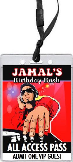 Master Funk DJ Birthday Party VIP Pass Invitation Front