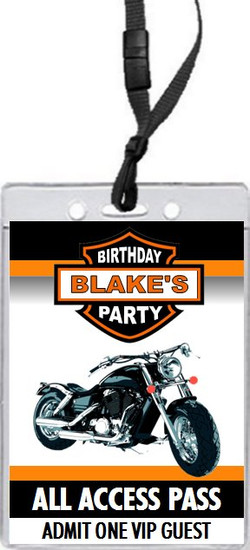 Motorcycle Birthday Party VIP Pass Invitation Front