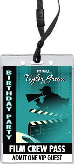 Movie Star Birthday Party VIP Pass Invitation Front