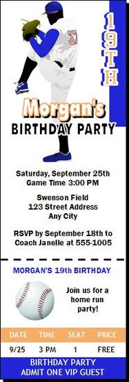 Baseball Pitcher Birthday Party Ticket Invitation Blue Orange