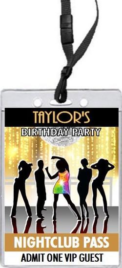 Nightclub Gold Birthday Party VIP Pass Invitation Front