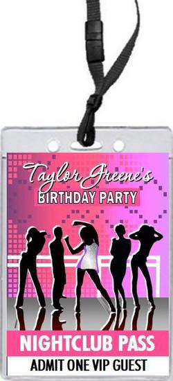 Nightclub Pink Birthday Party VIP Pass Invitation Front