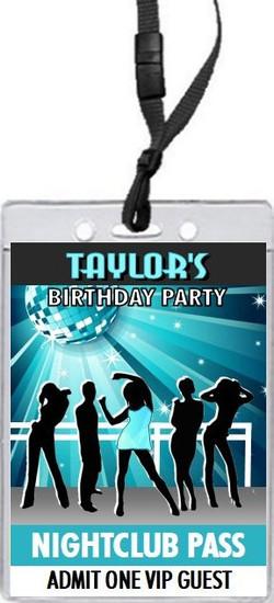 Nightclub Teal Birthday Party VIP Pass Invitation Front