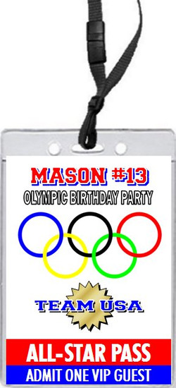 Olympic Rings Birthday Party VIP Pass Invitation Front