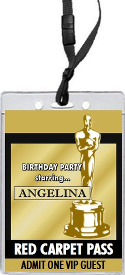 Oscar Awards Golden Birthday Party VIP Pass Invitation Front