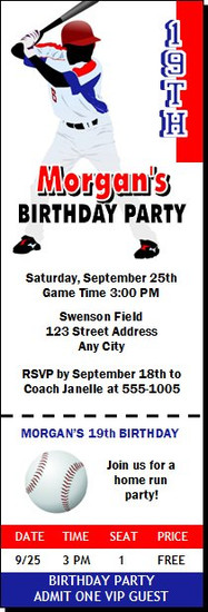 Baseball Player Birthday Party Ticket Invitation