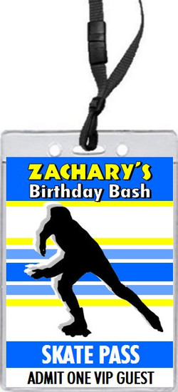 Roller Skate Male Birthday Party VIP Pass Invitation Front