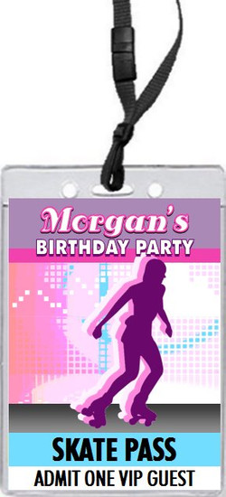Roller Skate Birthday Party VIP Pass Invitation Front