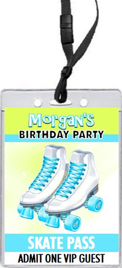 Roller Skates Birthday Party VIP Pass Invitation Teal