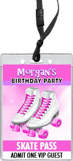 Roller Skates Birthday Party VIP Pass Invitation Set Of 12