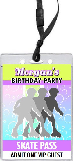 Roller Skating Design 2 Birthday Party VIP Pass Invitation Front