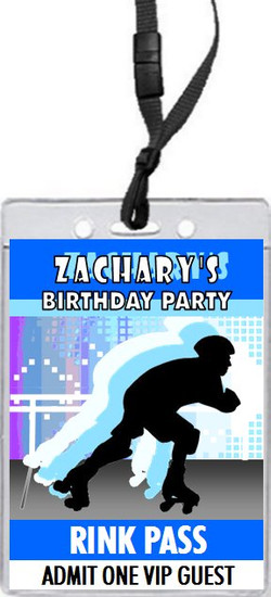 Roller Skating Male Birthday Party VIP Pass Invitation Front
