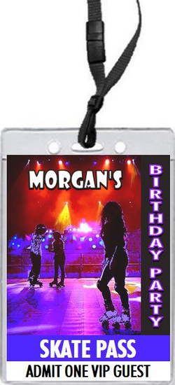 Roller Skating Birthday Party VIP Pass Invitation Front