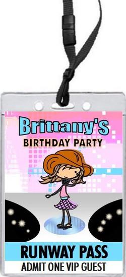 Runway Fashionista Girl Birthday Party VIP Pass Invitation Light Skin