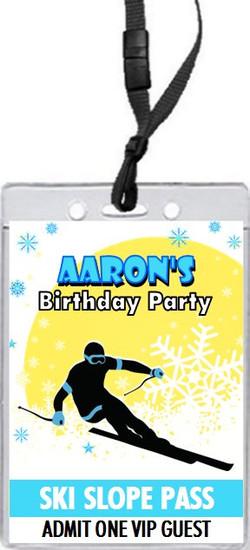 Snow Ski Birthday Party VIP Pass Invitation Front