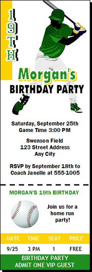 Baseball Slugger Birthday Party Ticket Invitation Design 2