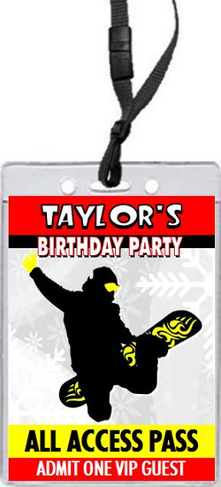 Snowboarding Birthday Party VIP Pass Invitation Red
