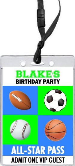 Sports Balls Birthday Party VIP Pass Invitation Front