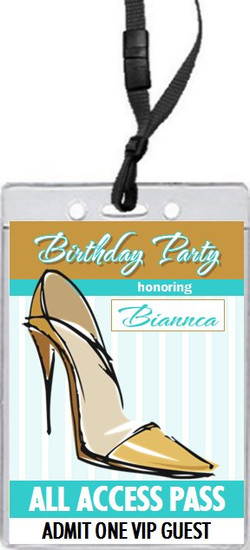 Stiletto Birthday Party VIP Pass Invitation Front