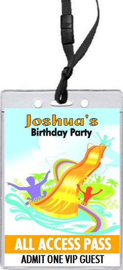 Water Park Design 2 Birthday Party VIP Pass Invitation Front