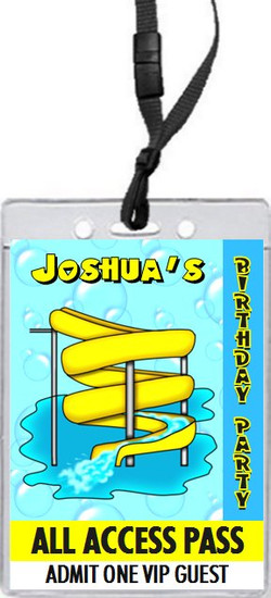 Water Park Birthday Party VIP Pass Invitation Front