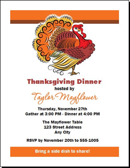 Beautiful Turkey Thanksgiving Party Invitation