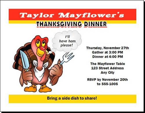 Cartoon Turkey Thanksgiving Party Invitation