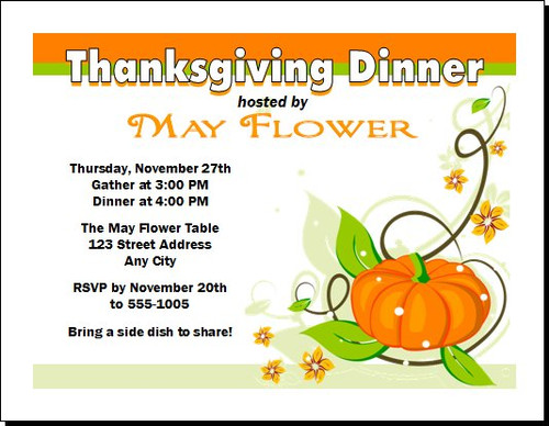 Colors of Fall Thanksgiving Party Invitation
