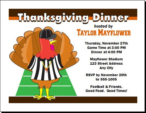 Football & Turkey Thanksgiving Party Invitation